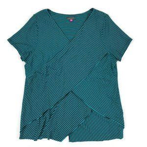 Vince Camuto Layered Striped V-Neck Top Size 2X